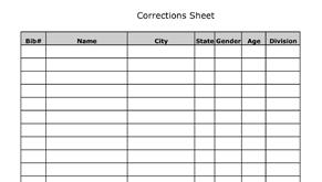 Corrections Sheet
